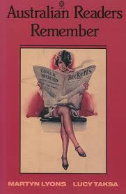 Cover of Australian Readers Remember, published by Oxford University Press in 1992. Painting of scantily dressed woman looking provocatively towards the viewer, holding a newspaper in front to cover her upper body